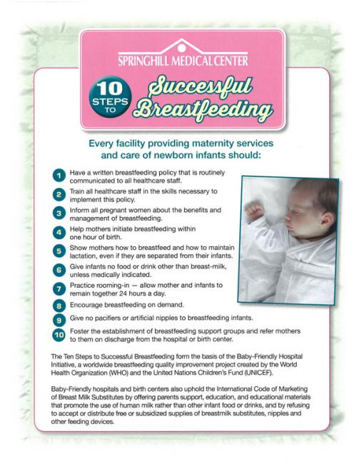 10 Steps to Successful Breastfeeding infographic