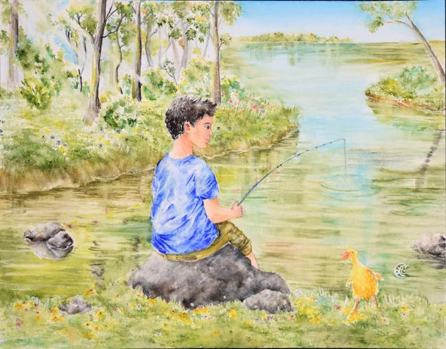 Drawing of a child fishing