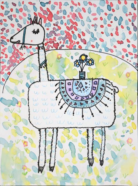 Child's drawing of a llama